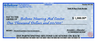 How To Write A Check Stepbystep Explanation 35x85_flyers_2868 Out Checkg  $1000 Deal Beltone How To Fill