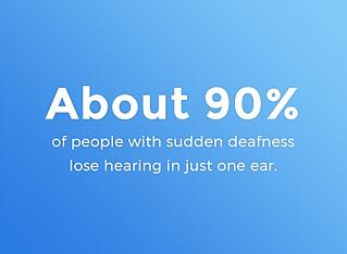90% of people with sudden deafness lose hearing in just one ear