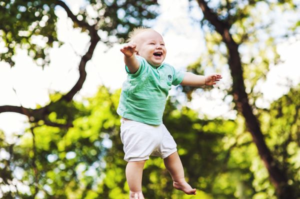 baby jumping in the air