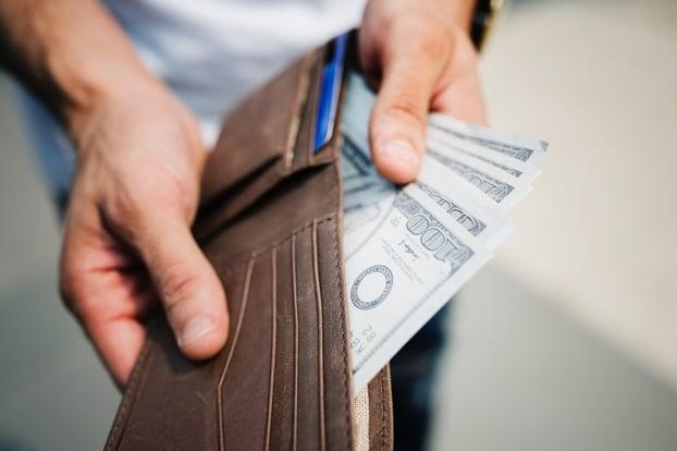 cash inside wallet