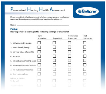 Beltone Personalized Hearing Health Assessment
