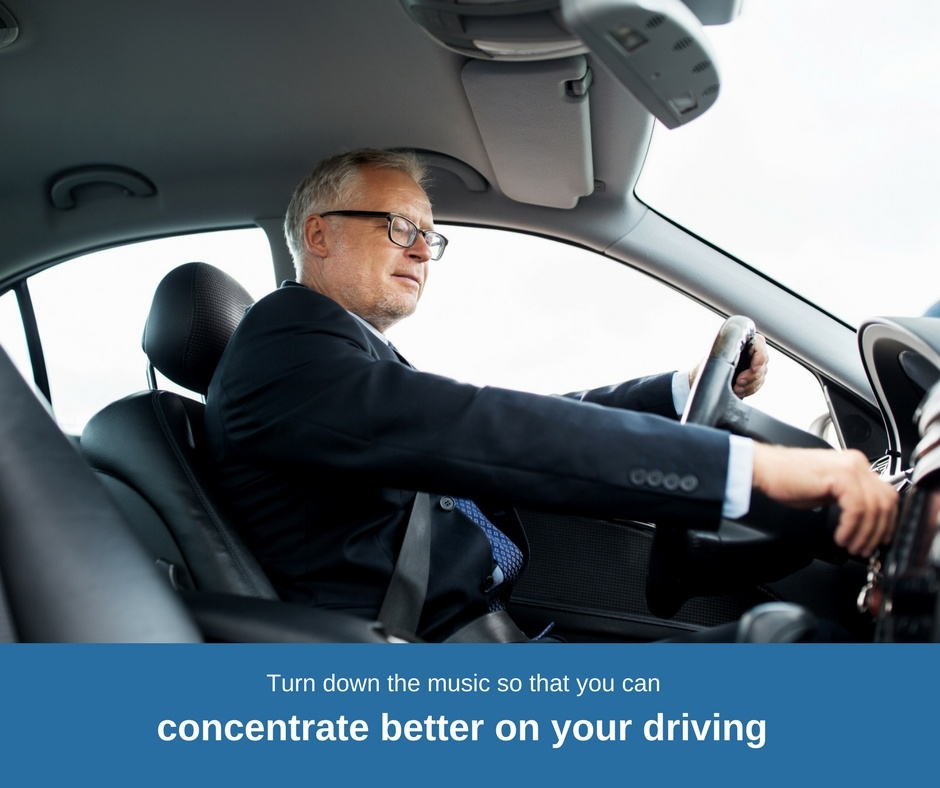 Turn down the music so that you can focus better on your driving.